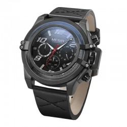 """Мъжки часовник""""MEGIR""""с качествен японски механизъм и черна кожена каишка"""